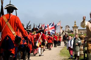 Soldiers reenacting history at Fortress Louisbourg